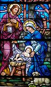 stained glass window in 19th century (st. mary's built 1875 - 1899) church of baby jesus mary and joseph in the manger with the animals wide dark bars across image are from reinforcing rods added to the outside of the window back in the mid-20th cent poster