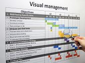 Inspecting a backspike on the project plan using visual management. poster