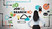 Rear view of the brunette woman who is looking at the wall with colourful icon about job vacancies. A concept of recruitment process. Internship and graduate programmes. Concrete wall. poster