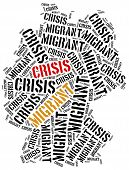 Syrian migrant or refugees crisis in Europe. Word cloud illustration. poster
