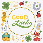 Vector decorating design made of Lucky Charms, and the words Good Luck. Colorful card template with copy space poster