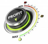 Profit button positioned on maximum white background and green light. Finance concept illustration of profitability. poster