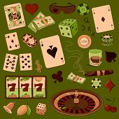Hand drawn Casino icons set with a hand of aces playing cards, dice, roulette board, casino chips or tokens and lucky number 777 poster