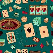 Seamless casino hand drawn pattern with a hand of aces playing cards, dice, roulette board, casino chips or tokens and lucky number 777 poster