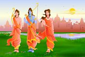 vector illustration of Lord Rama, Laxmana and Sita for Happy Dussehra poster