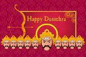 vector illustration of Ravana in Happy Dussehra poster
