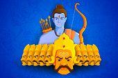vector illustration of Rama killing Ravana in Happy Dussehra poster
