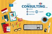 Consulting design and flat design illustration concepts for business analysis planning consulting team work project management.Consulting concepts for web banner and printed materials. poster