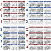 Four classic calendar templates for years 2011 - 2014, easy editable, weeks start on Sunday poster