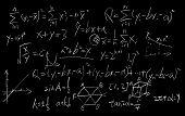 Maths formulas written by white chalk on the blackboard background. poster