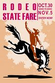 "retro style illustration of a Poster showing an American Rodeo Cowboy riding a bucking bronco horse jumping viewed from side with words ""Rodeo State Fair Oct. 30 to Nov. 5 join now"" poster"