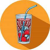 Vector refreshing drink icon hand drawn graphic healthy drink refreshing drink or smoothie cocktail in glass flat style. Hand drawn cocktail icon. poster