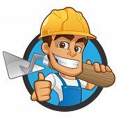 Sympathetic bricklayer dressed in work clothes, he wears a helmet and trowel poster
