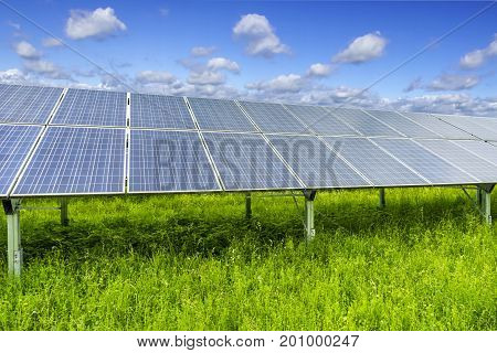 Solar Panels with blue sky in Hessen Germany