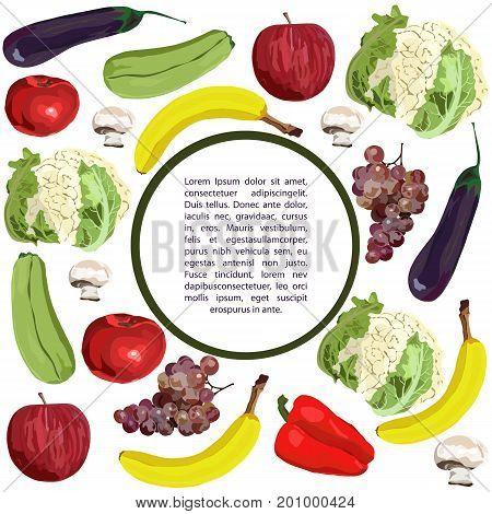Vector. Hand drawn. Healthy eating vector concept. Vegan. Template round design. Realistic apple banana grape eggplant squash champignon red pepper cauliflower.
