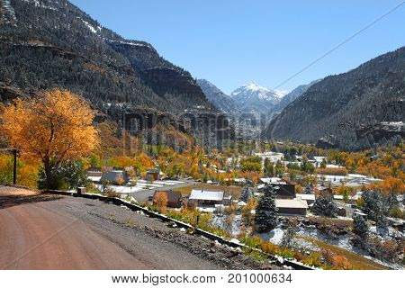 Scenic Ouray city in Colorado during autumn time
