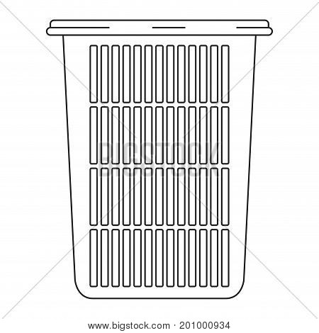 monochrome silhouette of tall laundry basket without handles vector illustration