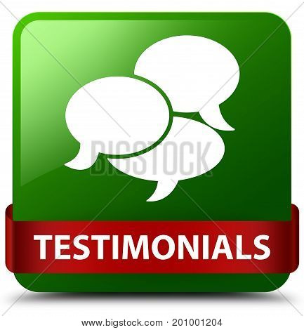 Testimonials (comments Icon) Green Square Button Red Ribbon In Middle