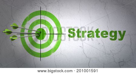 Success finance concept: arrows hitting the center of target, Green Strategy on wall background, 3D rendering