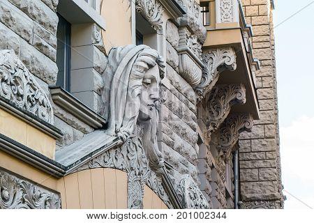 Detail of art nouveau building in Riga, Latvia. Art Nouveau architecture style