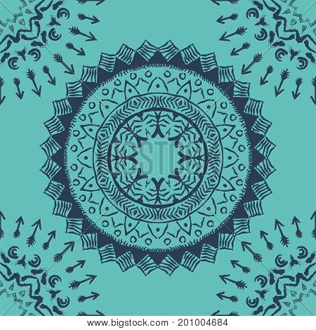 Seamless pattern with blue mandalas in bohemian style. Native American vector ornament painted with grunge brushes