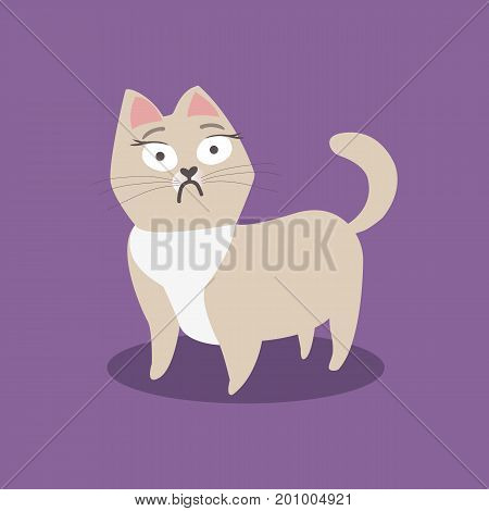 Scared little beige cat on violet background. Vector illustration
