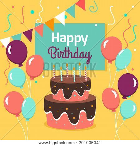Happy Birthday Party card with cake and ballons. Vector illustration