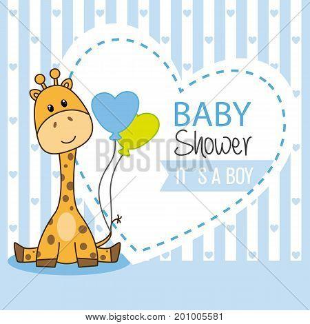 baby shower boy. Cute giraffe with balloons