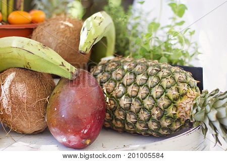 Some fresh and tropical fruits exposed as decoration