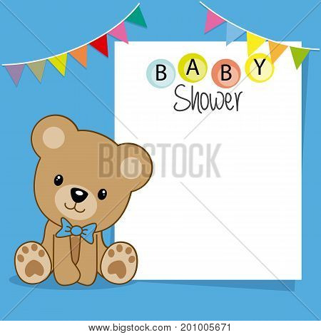 baby shower boy. Bear with poster for text or photo