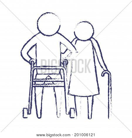 blurred blue silhouette of pictogram elderly couple with in man assistence walker and woman with stick in clothes vector illustration