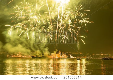 Fireworks over Russian Navy fleet during Victory Day celebrations, Sevastopol Bay, Crimea