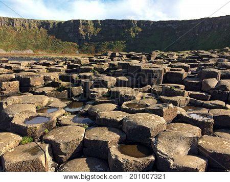 Bushmills, Northern Ireland, United Kingdom - October 15, 2016: Giant's Causeway - Northern Ireland's most popular tourist destination