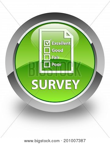 Survey (questionnaire Icon) Glossy Green Round Button
