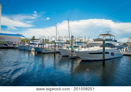 FORT LAUDERDALE, USA - JULY 11, 2017: A line of boats displayed for sale at the Fort Lauderdale International Boat Show.