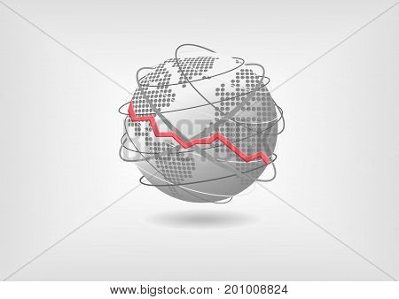 Global economic recession concept as vector illustration