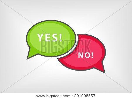 Yes versus no vector illustration as speech bubbles
