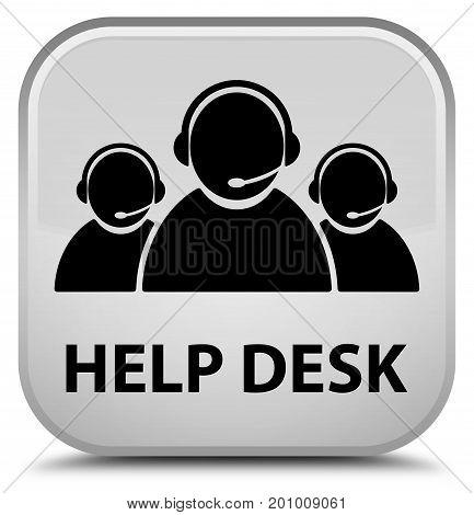 Help Desk (customer Care Team Icon) Special White Square Button