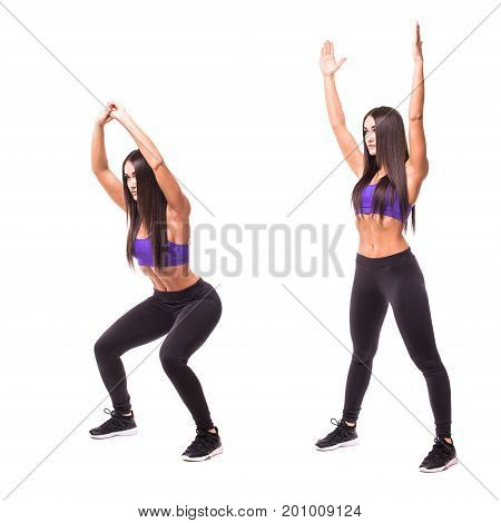 Sport Beauty Woman Do Sits-up Fitness Exercises On White Background. Woman Demonstrate Begin And End