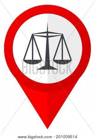 Justice red web pointer icon. Webdesign button on white background.