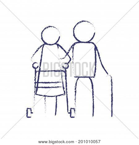 blurred blue contour of pictogram elderly couple with woman in assistence walker and man with stick vector illustration