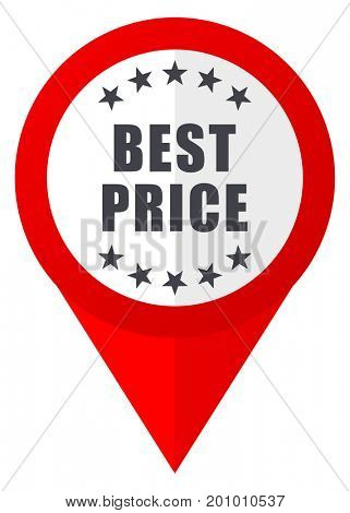 Best price red web pointer icon. Webdesign button on white background.