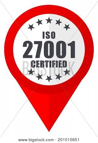 Iso 27001 red web pointer icon. Webdesign button on white background.