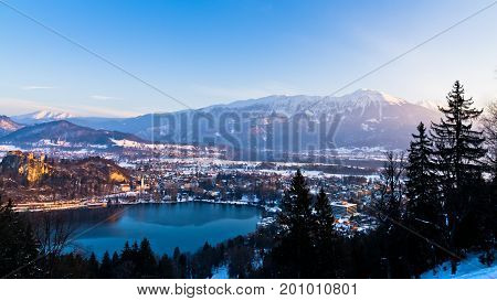 Lake Bled surrounded with nearby southern alps mountains in slovenian alps, Slovenia
