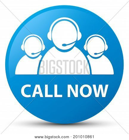 Call Now (customer Care Team Icon) Cyan Blue Round Button