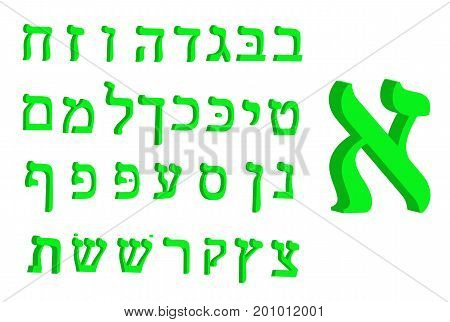 3d letter Hebrew. Green font Hebrew. Letters Hebrew alphabet. Vector illustration.