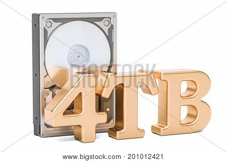 Hard Disk Drive (HDD) 4 TB. 3D rendering isolated on white background