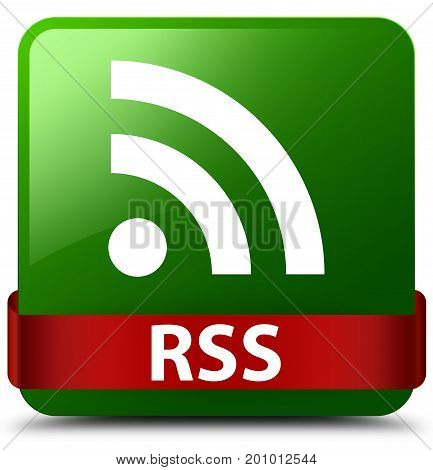 Rss Green Square Button Red Ribbon In Middle