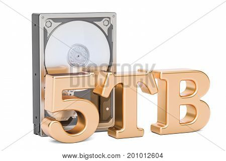 Hard Disk Drive (HDD) 5 TB. 3D rendering isolated on white background