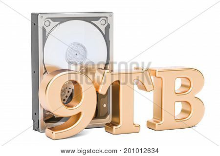 Hard Disk Drive (HDD) 9 TB. 3D rendering isolated on white background